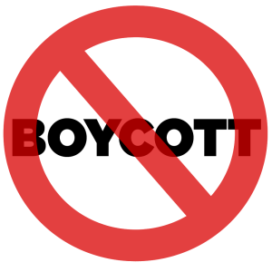 A picture that says 'Boycott'