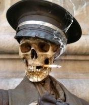 A smoking skull