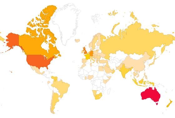 A Map Of Where My Readers Are and Aren't