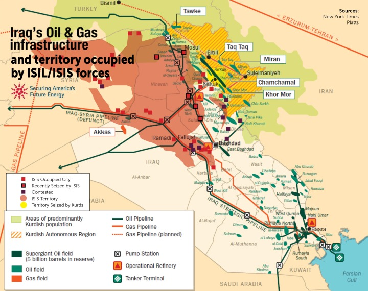 A map of ISIS-held territory and oil stuff