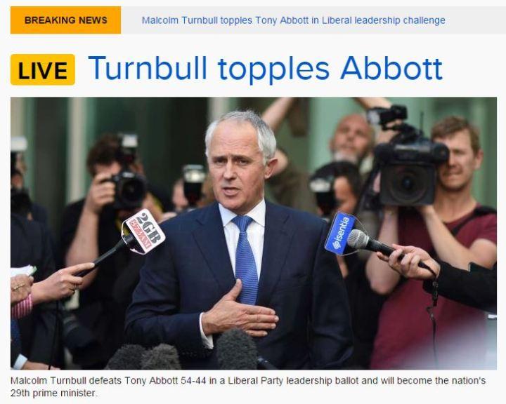 turnbull wins abbott gone