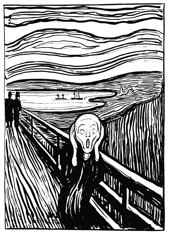 a woodcut of Munch's Scream