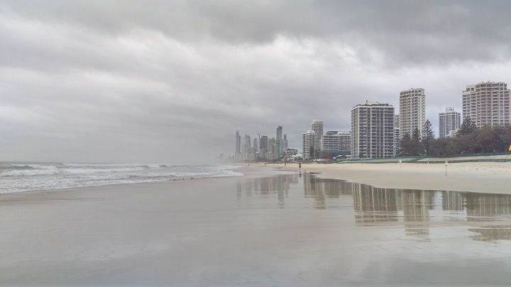 A photo of Surfers Paradise being eaten by the Pacific Ocean